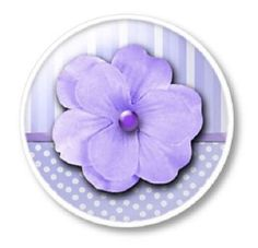 Sweet Violet Flower Polka Dot Stripe Knobs | Pulls - No. 1214E