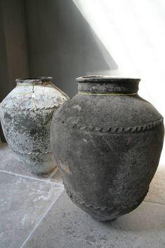 ♅ Dove Gray Home Decor ♅  rustic grey pots