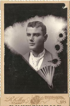 Cabinet Photo Handsome Young Gentleman Nice Hand Fan Flower Border | eBay