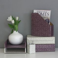 Gold & Pewter Paisley Design. White and Purple Paisley Magnetic Closure A4 File Boxes and Stacking Storage Trays, White Paisley Recycled Pen Pot. All our beautiful handmade stationery and storage products are produced in an eco-friendly way, from 100% recycled materials.