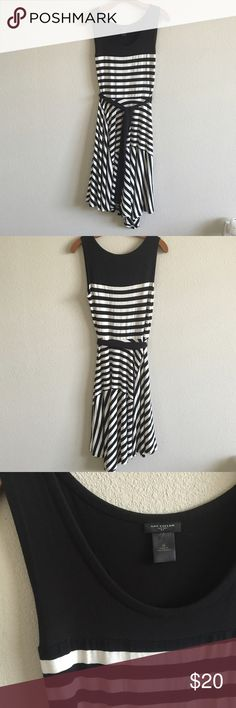 Ann Taylor asymmetrical stripped dress Rayon poly blend dress can fit size  0-4 very flowy fit with belt included Ann Taylor Dresses