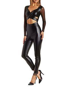 Faux Leather & Mesh Jumpsuit Mesh Jumpsuit, Leather Jumpsuit, Sexy Outfits, Fashion Outfits, Fashion Trends, Women's Fashion, Storm Costume, Leather Bodysuit, Wet Look Leggings