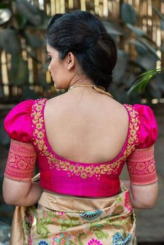 Blouse Back Neck Designs, Simple Blouse Designs, Stylish Blouse Design, Pink Blouse Design, Latest Blouse Designs, Wedding Saree Blouse Designs, Silk Saree Blouse Designs, Sari Blouse, Mirror Work Saree Blouse