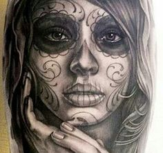 50 incredible Santa Muerte tattoos, great designs from all over the world. Pretty and colorful or dark and terrifying portraits of Santa Muerte. Future Tattoos, New Tattoos, Body Art Tattoos, Sleeve Tattoos, Portrait Tattoos, Tatoos, Tattoo Arm, Rosary Tattoos, Bracelet Tattoos