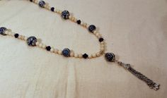 Tassel Necklace with Blue and White Porcelain and by SpringHammock