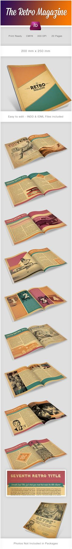 Retro Magazine - estilo retro y uso de color muy interesante. Un layout bastante…