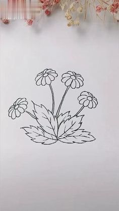 Art Drawings Sketches Simple, Cute Easy Drawings, Art Drawings For Kids, Flower Sketches, Pencil Art Drawings, Doodle Drawings, Art For Kids, Flower Line Drawings, Flower Drawing Tutorials
