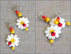 Fimo Daisy & Ladybug earrings