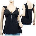 plus size ruffle camisoles black and kakai | Plus size Spread Collar Sleeveless Vest Top Black items in LAFO Junior ...