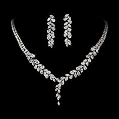 Elegance by Carbonneau Intricate Cubic Zirconium Crystal Leaf Bridal Necklace & Earring Jewelry Set - NE 2584 Bridal Necklace, Crystal Necklace, Necklace Set, Bridal Accessories, Jewelry Accessories, Wedding Jewelry Sets, Necklace Designs, Luxury Jewelry, Diamond Jewelry
