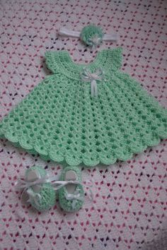 Items similar to Crochet Baby girl Dress set on Etsy - Baby Dress set by BellasBabyTreasures on Etsy Crochet Baby Poncho, Crochet Dress Girl, Crochet Baby Dress Pattern, Baby Dress Patterns, Crochet Fabric, Baby Girl Crochet, Crochet Doll Clothes, Newborn Crochet, Baby Knitting