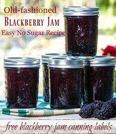 Easy Blackberry Jam Recipe Low Sugar with Canning Instructions - Blackberries - Ideas of Blackberries - Easy blackberry jam canning recipe no sugar and free canning labels Homemade Blackberry Jam, Blackberry Jam Recipes, Blueberry Jam, Blackberry Freezer Jam, Homemade Blueberry Jelly Recipe, Blackberry Jelly Recipe With Sure Jell, Canning Labels, Canning Recipes, Easy Canning