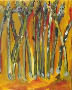 Asparagus No.5, abstract vegetables, painting by Delilah Smith