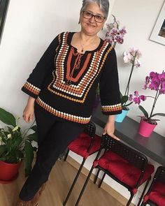 Job show 😍 Read the description ⤵. By Fatimetülzehra. Moda Crochet, Knit Crochet, Crochet Sunflower, Crochet Decoration, Crochet Woman, Afghan Crochet Patterns, Knitted Poncho, Crochet Cardigan, Beautiful Crochet