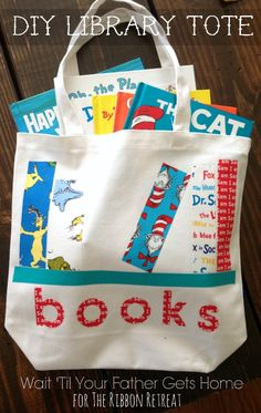 Monogrammed Library Tote Bag by Wait 'Til Your Father Gets Home #librarytote #monogrammedtote #nosew