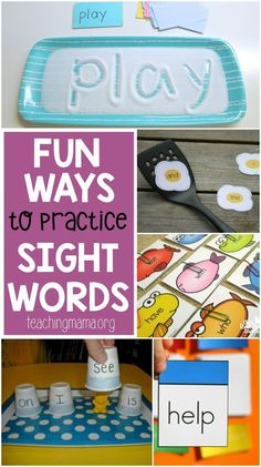 of fun and hands-on ideas to practice sight words. Make learning these important words fun with these great ideas.Lots of fun and hands-on ideas to practice sight words. Make learning these important words fun with these great ideas. Teaching Sight Words, Sight Word Practice, Sight Word Games, Sight Word Activities, Literacy Activities, Baby Activities, Literacy Centers, Sight Words For Preschool, Kindergarten Sight Words