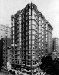 Tacoma Building, 1889, Chicago; Holabird & Roche, Iron and steel structure, first use of rivets, first use of curtain wall, though structure still relied on load-bearing walls for support