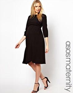 Image 1 ofASOS Maternity Midi Dress With Tab Side