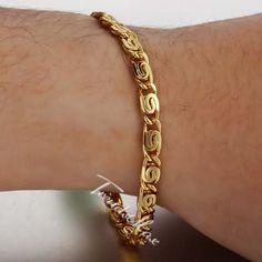 SNAIL Yellow Gold Filled Bracelet Chain Size: 5 MM_7-11 INCH Optional Mens Gold Bracelets, Mens Gold Jewelry, Gold Rings Jewelry, Gold Bangles, Jewellery, Gents Bracelet, Gold Mangalsutra Designs, Bridal Bangles, Gold Chains For Men