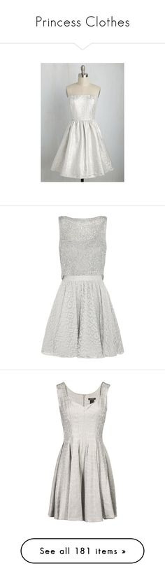 """""""Princess Clothes"""" by werewolfborn ❤ liked on Polyvore featuring dresses, apparel, varies, jacquard a line dress, spotted dress, polka dot cocktail dress, polka dot dress, strapless a line dress, vestidos and short dresses"""