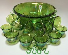 Carnival Glass Punch Bowl Complete Set on Mercari Princess Punch, Green Punch, Relaxing Colors, Punch Bowl Set, Fenton Glass, Indiana Glass, Carnival Glass, Leaf Design, Colored Glass