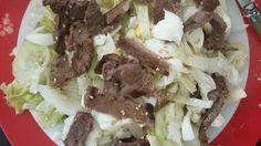 Fase 1 : ensalada de pepino, lechuga , huevo,carne asada con un poco de aceite de ajonjoli Carne Asada, Atkins, Tacos, Mexican, Beef, Ethnic Recipes, Food, Cucumber Salad, Lettuce