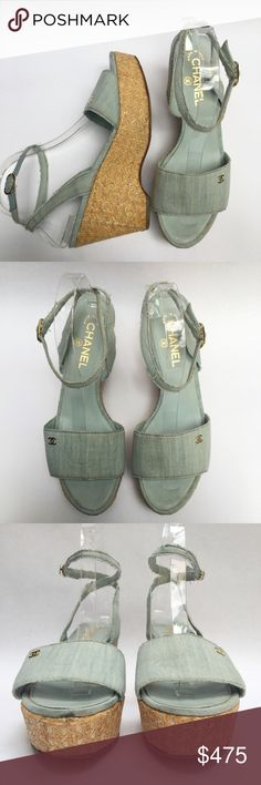 "Chanel Denim Ankle Wrap Wedge Sandals Shoes WH29 Chanel Denim Peep Toe Buckle Wedge Double CC Shoes Ankle Strap Around, Gold Buckle, Rattan Wedge, Peep Toe Sandal Size: 8.5 US 39.5 EU  Heel Height: 3.75"" Platform: 1.5"" Upper: Fabric – this is a distressed/frayed look. Lining /Sole: Leather Country: Italy Style #: 09C A G26344 Condition: Pre-Owned Very Good. This is a distressed look, the straps look frayed, but it is the style!  WT: 2 SKU: WH029; 2 All measurements are taken on flat surface…"