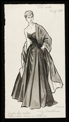 Fashion drawing  Date: 1953-1954 (published)  Artist/Maker: Fromenti, Marcel (artist),   Susan Small (designer)