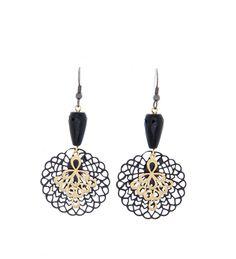 Earrings | Handcrafted : Black & Gold Filigree Earrings