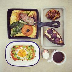 goooooooood morning wonderful saturdayyyyyyyyyy :-j ))))))) #morning #breakfast #yummy #goodfood #instafood #onthetable  #homemade #foodie #foodstagram #foodphoto #dutchbaby #baking #ribfongers_tomato_spinach_okra_dutchbaby #roast_carrot_avocado_egg #caramel_almond_ball #roast_honey_grape_cheese_sweetpotato #top_food_of_instagram