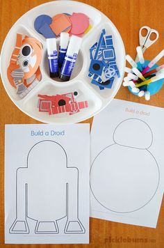 Build a droid! Free printable R2 and BB droids to cut and paste. A great activity for a Star Wars themed party