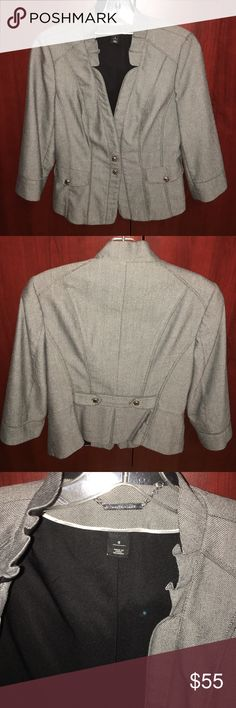 White House Black Market suit jacket Gorgeous gray black and hints of white. Perfect condition. I love this jacket with jeans also. Beautifully fitted. 3/4 sleeve. Silver buttons. Fully lined. Even the sleeves. 68 poly 30 rayon 2 spandex. Says machine washable. I always dry cleaned. White House Black Market Jackets & Coats Blazers