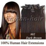 Натуральные волосы на заколках, цвет темно-коричневый #02
