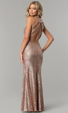 Shop long rose gold sequin prom dresses at PromGirl. Junior-size designer formal evening dresses with caged-style open backs and illusion insets. Gold Formal Dress, Long Sequin Dress, Sequin Prom Dresses, Rose Gold Sequin Dress, Dress Prom, Rose Gold Dresses, Designer Evening Dresses, Formal Evening Dresses, Evening Gowns