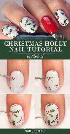 10 Charming Christmas Nail Art Tutorials You'll Adore - Christmas Nail Art Designs Christmas Nail Polish, Xmas Nail Art, Cute Christmas Nails, Holiday Nail Art, Xmas Nails, Winter Nail Art, Cool Nail Art, Winter Nails, Diy Nails