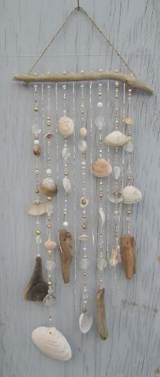 Do it yourself ideas and projects: 50 Magical DIY Ideas with Sea Shells shell crafts Seashell Art, Seashell Crafts, Beach Crafts, Diy Crafts, Seashell Wind Chimes, Seashell Projects, Crafts With Seashells, Driftwood Mobile, Driftwood Crafts