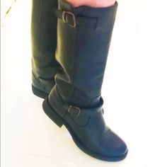 NWT Black leather boots Nice thick black leather boots, buckle details at top and at ankle, inch heel, NO wear, perfect condition Steve Madden Shoes Winter & Rain Boots