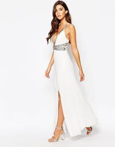 Image 1 ofTFNC Maxi Dress With Embellished Waist Detail
