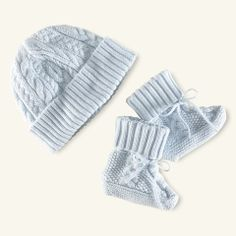 Cabled Cotton Hat & Booties - Layette Accessories - RalphLauren.com