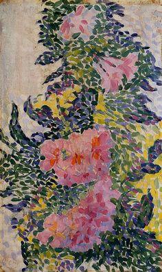 Fleurs, huile sur panneau de Henri Edmond Cross (1856-1910, France)
