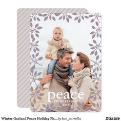 Winter Garland Peace Holiday Photo Card #LAVENDER #HAPPYFAMILY #HAPPYMOMENTS #XMAS #PEACE #MERRYCHRISTMAS #WINTER #CHRISTMAS