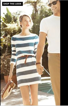 kate spade: stripped dress, looped belt This would make a beautiful autumn outfit Mode Style, Style Me, Club Style, Simple Style, Casual Chic, Summer Outfits, Cute Outfits, Summer Clothes, Look Fashion
