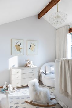 Neutral, unisex nursery with soft details. Nursery Nook, Nursery Ideas, Sophisticated Nursery, Character Home, Curved Sofa, Kid Spaces, Window Coverings, Your Child, Nurseries