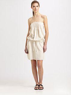 Athe Vanessa Bruno Silk Smocked Strapless Dress