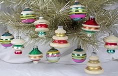 Vintage Vintage Shiny Brite Ornaments, Mid Century Glass Christmas Ornaments, Tops, UFO, Stripes, Free Shipping on Etsy, $48.00