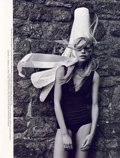 How to wear folk headgear with fun. Patrick de Marchelier photos