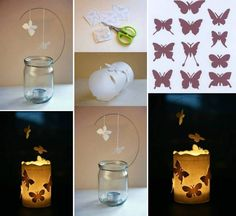 Colorful DIY Butterfly Crafts & Projects To Make Your Imagination Flutter Butterfly Lamp, Butterfly Crafts, Printable Butterfly, Paper Butterflies, Jar Crafts, Diy And Crafts, Cool Diy, Easy Diy, Puppy Crafts