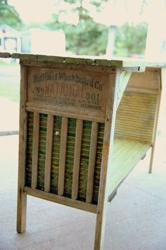 Washboard Table...... This would so darling as a folding table in the laundry room.....