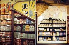 clever sardine can shelf at Big Biba department store in London, circa 1960s