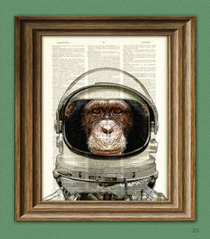 Astronaut Art Print Space Chimp Chimpanzee in helmet illustration beautifully upcycled dictionary page book art print. $7.99, via Etsy.